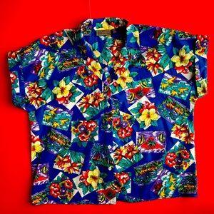 Tropical Button-Up Hawaiian Shirt